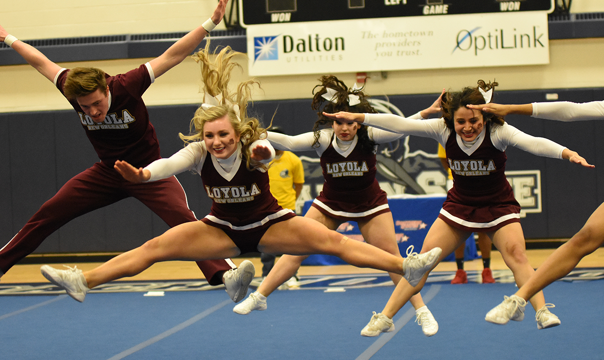 Photo for Wolf Pack competitive cheerleading finishes seventh at NAIA Regional Qualifier